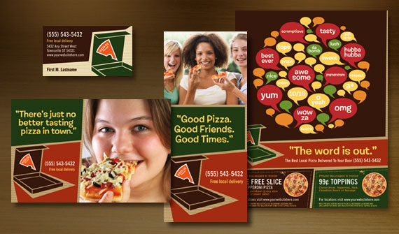 Pizza Restaurant Menu, Take-Out Brochure, Postcard, Flyer & Ads, Poster, and Stationery Designs