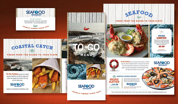 Seafood Restaurant Menu, Postcard, Flyer & Ads, Gift Certificiate - Graphic Designs