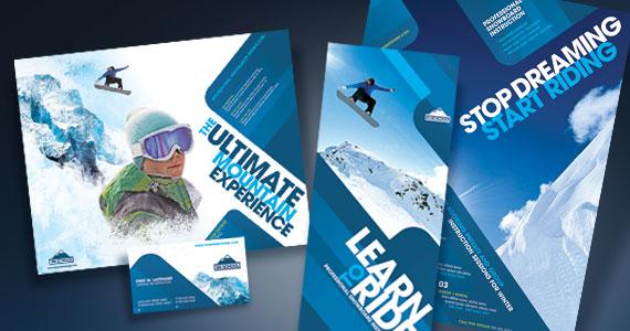 Ski & Snowboard Instructor Brochure, Postcard, Poster, Stationery and Flyer & Ads Designs