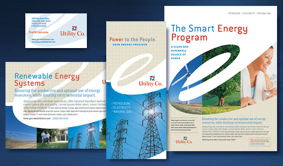 Utility & Energy Company Brochure, Flyer & Ads, Datasheet, Tri-Fold Brochure, Newsletter and Stationery Designs