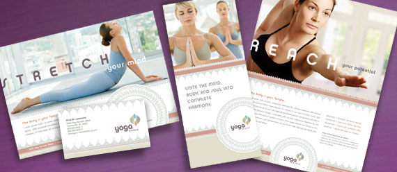 Business cards flyers and posters for a yoga instructor for Yoga brochure templates
