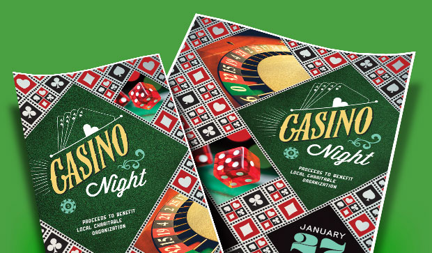 Casino Night Party Fundraiser Event Ideas - Invitations, Flyers, Posters