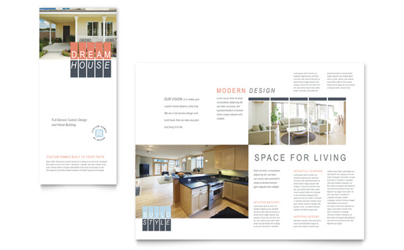 Custom Home Building Tri Fold Brochure Design
