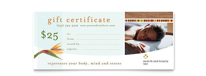 Day Spa Gift Certificate
