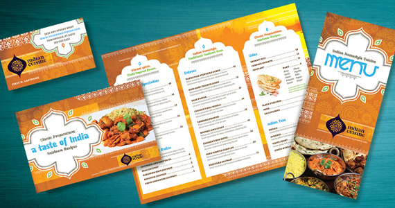 Indian Restaurant - Marketing Materials - Menu, Flyer, Ad, Postcard, Business Card - Design Ideas