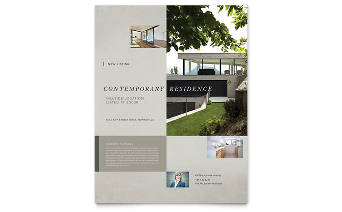 Real Estate Flyer Sample #7 - Contemporary Residence