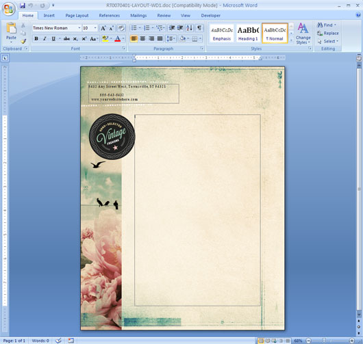 Letterhead Template in Microsoft Word
