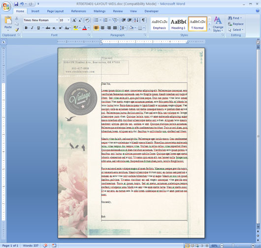 Letterhead Layout with Header in Word