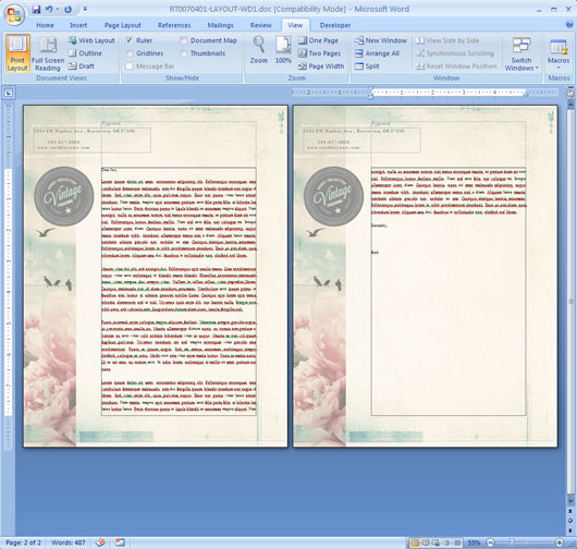 Letterhead with Repeat Header in Microsoft Word