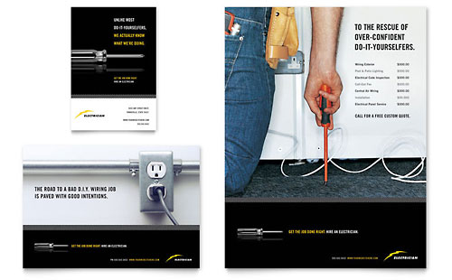 Electrician Brochure Template Design