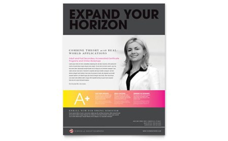 Adult Education   Business School Brochure Template Design Flyer