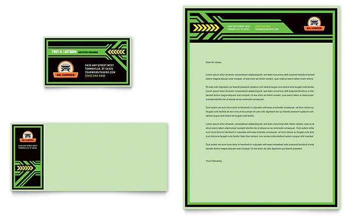 Oil Change Service Letterhead & Business Card Design Sample