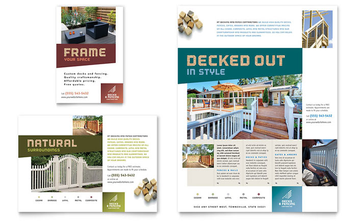 Decks & Fencing Flyer & Ads Design Example