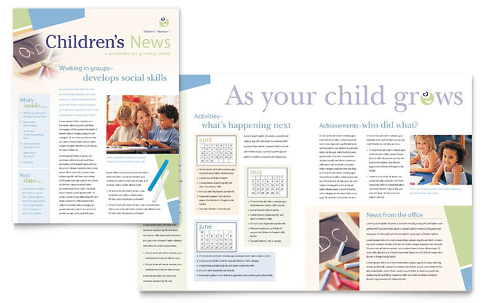 Preschool Teacher's Newsletter Design Example