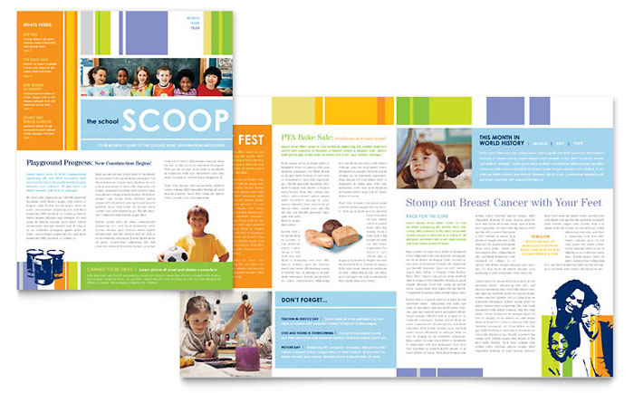 Elementary School Newsletter Template Design