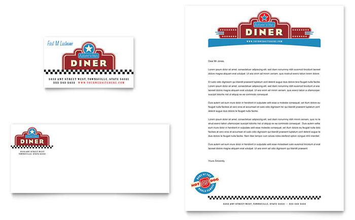 American Diner Restaurant Business Card Letterhead Template Design