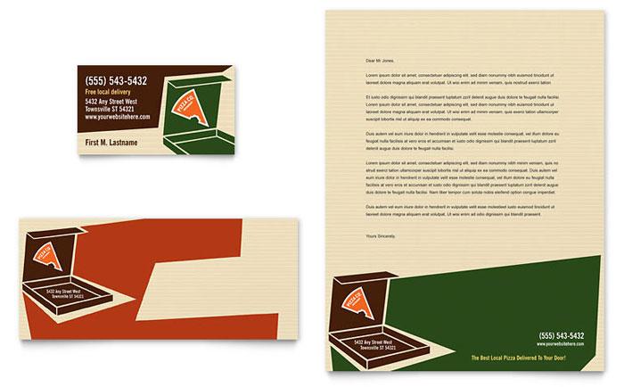 Pizza Pizzeria Restaurant Business Card Letterhead Template Design