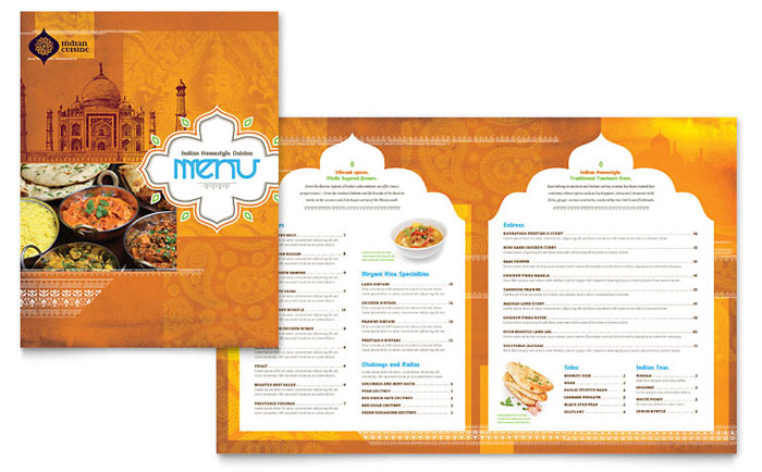 Indian Restaurant Menu Flyer Ads And Postcard Ideas
