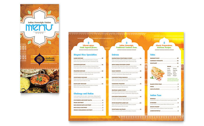 Take Out Menu Sample - Indian Restaurant