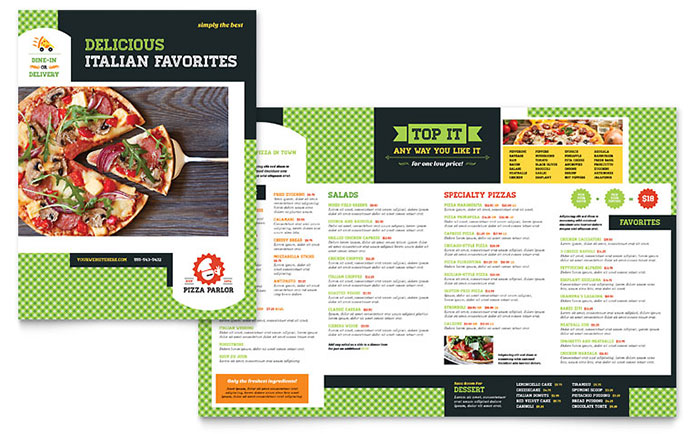 Italian Pizza Parlor - Menu Design Idea