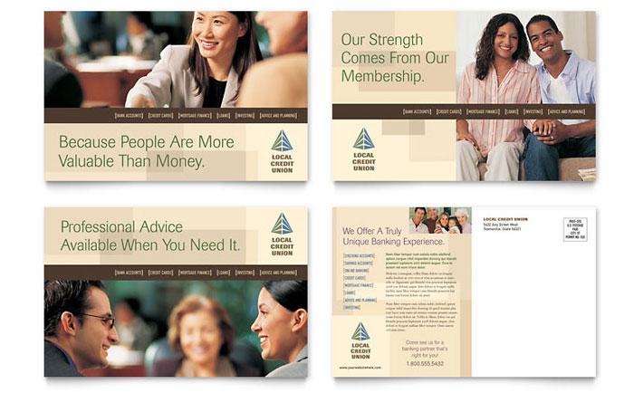 Credit Union Amp Bank Postcard Template Design