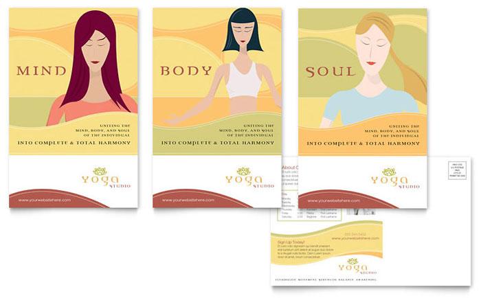 Yoga Instructor Studio Postcard Template Design
