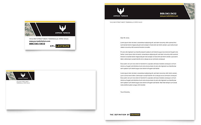 Military Letterhead & Business Card Design Sample