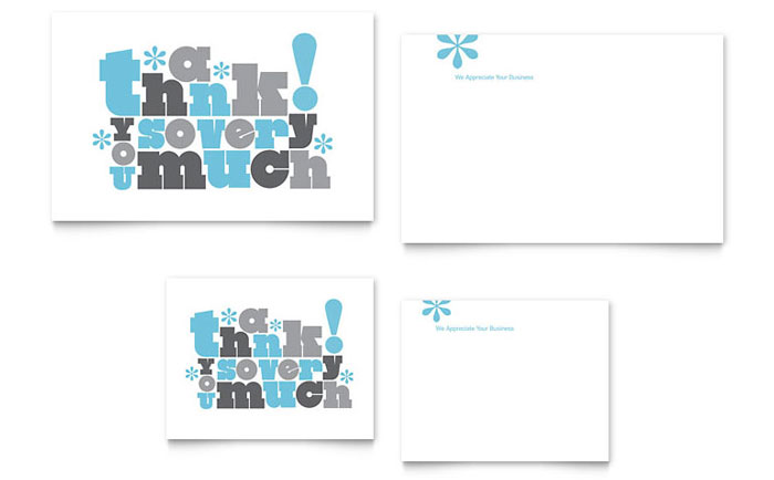 Thank You Very Much Note Card Template Design