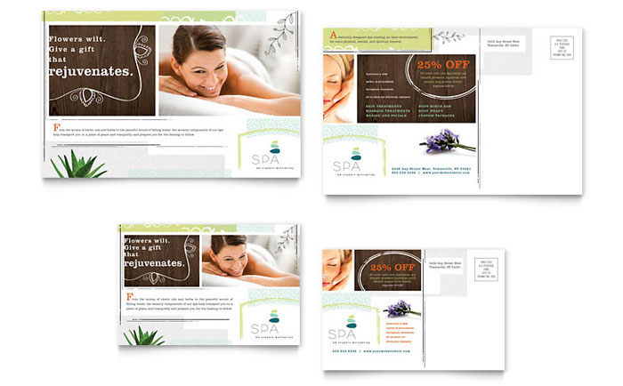 Day Spa Direct Mail Postcard Design Idea