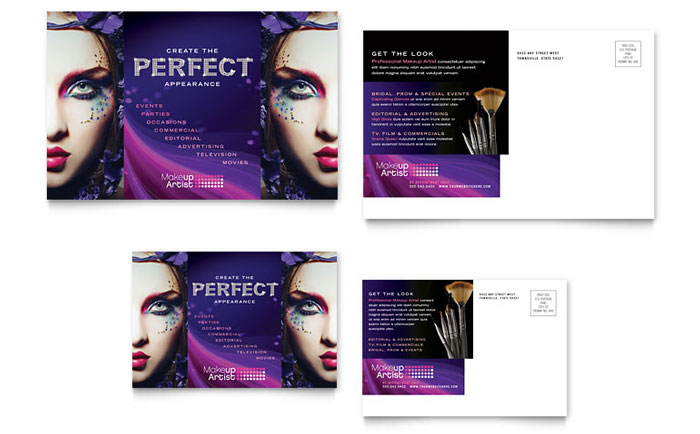 Makeup Artist Postcard Template Design