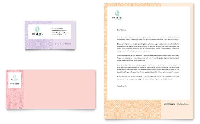 Massage Business Card & Letterhead Example