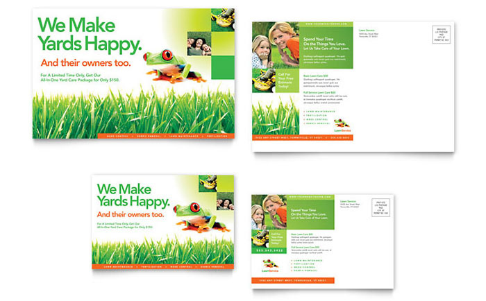 Lawn Service Direct Mail Postcard Design Example