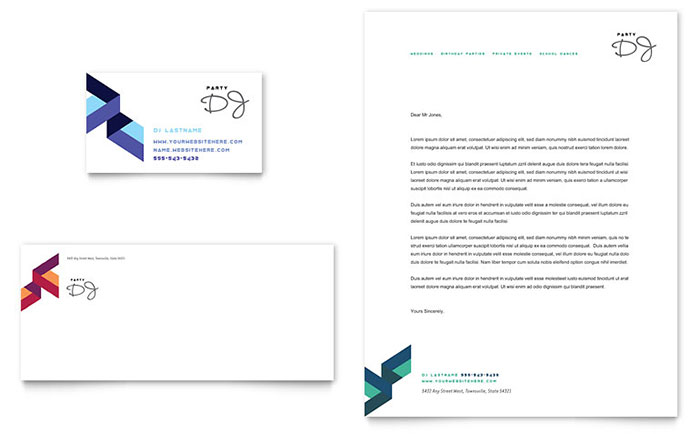 DJ - Business Card & Letterhead Design Example