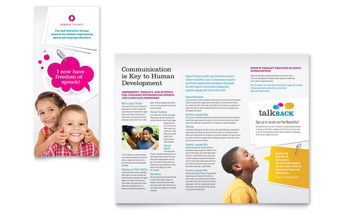 Speech Therapy Tri Fold Brochure Example