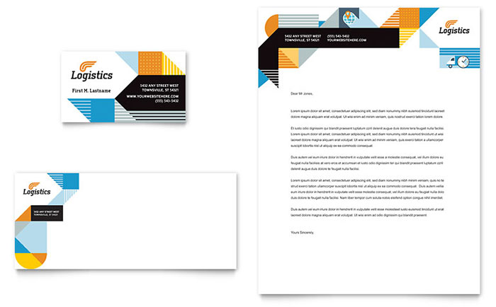 Logistics Management - Business Card & Letterhead Design Example
