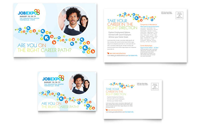 Job Expo Amp Career Fair Postcard Template Design