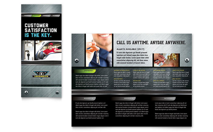 Locksmith Tri Fold Brochure Design