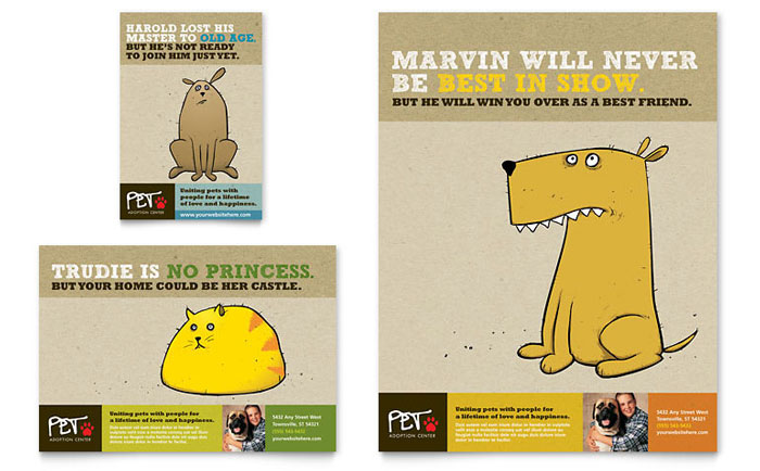 Animal Shelter & Pet Adoption Flyer & Ad Design