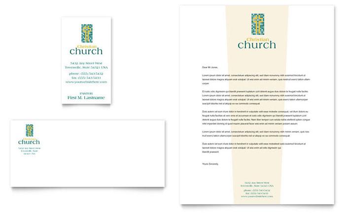 Christian Church Business Card Amp Letterhead Template Design