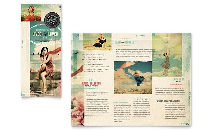 Vintage Clothing Tri Fold Brochure Design