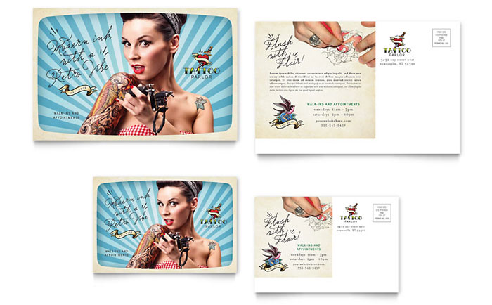 Tattoo Artist Postcard Design