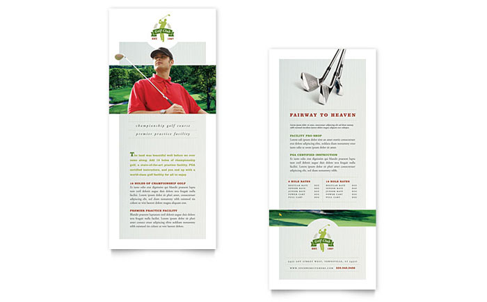Golf Course & Instruction - Rack Card Example