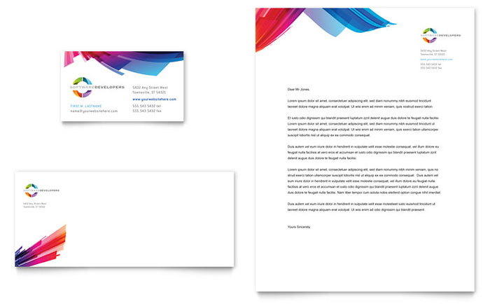 Software Solutions Business Card & Letterhead Sample Design