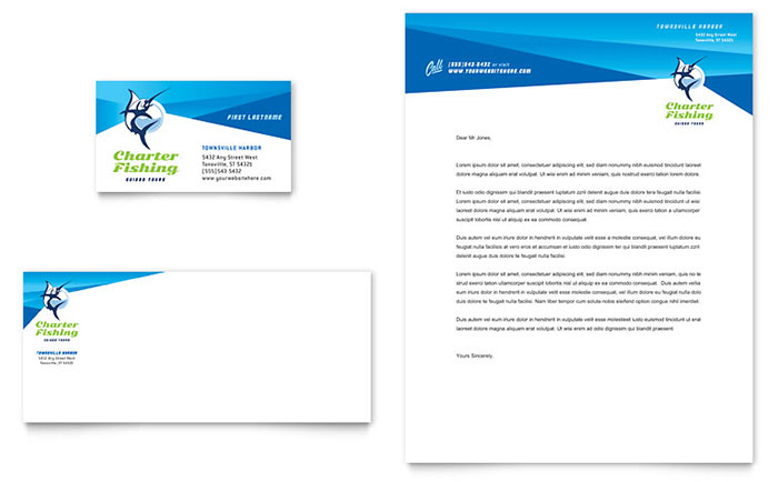 Charter Fishing - Letterhead & Business Card Design