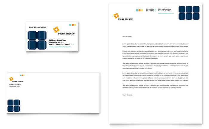 Solar Energy Business Card Design Example