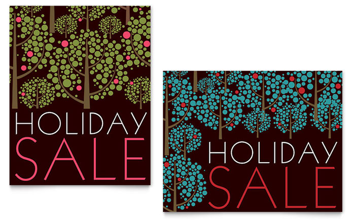 Stylish Holiday Trees Sale Poster Design