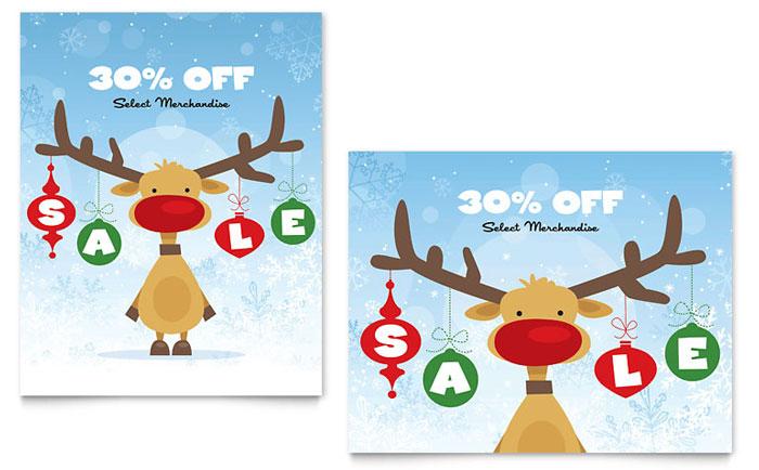 Reindeer Snowflakes Poster Design