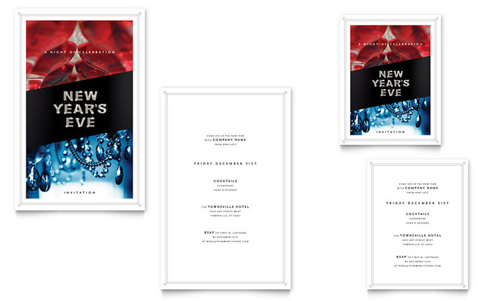 New Year's Eve Party Note Card Design