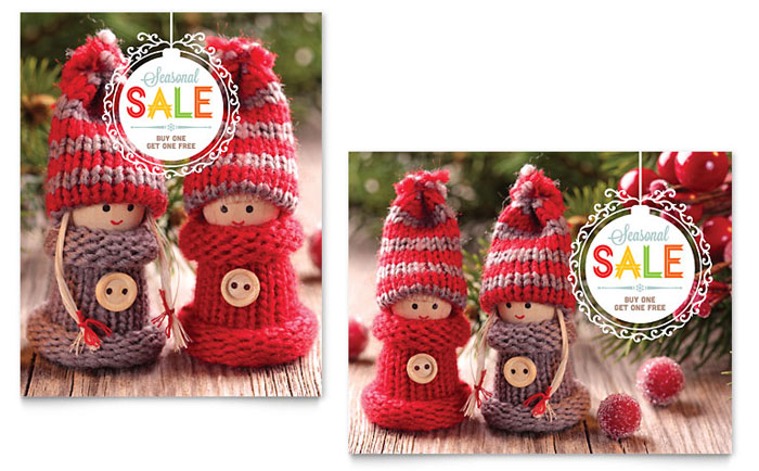 Knitted Dolls Sale Poster Design