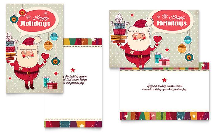 Retro Santa Greeting Card Design